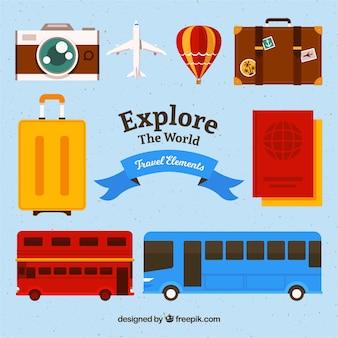 Pack de elementos de viaje y transporte