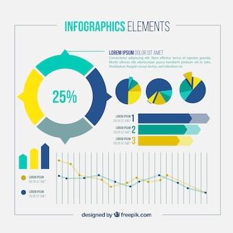 Pack de elementos infográficos con estadísticas