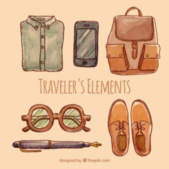 Pack de elementos viajeros pintados a mano
