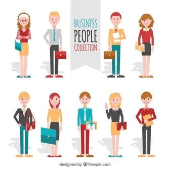 Pack de empresarios con artículos de oficina