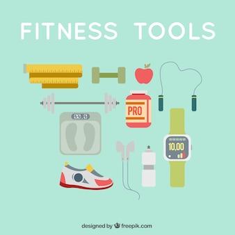 Pack de equipamiento de fitness en estilo plano