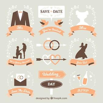 Pack de etiquetas de boda con cintas naranja