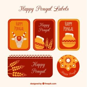 Pack de etiquetas de feliz Pongal