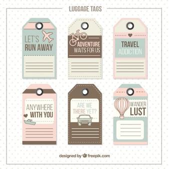 Pack de etiquetas de viaje en tonos pasteles