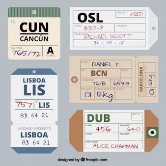 Pack de etiquetas de viaje planas