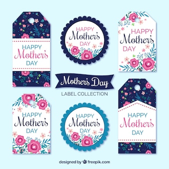 Pack de etiquetas del día de la madre con flores de colores