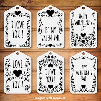 Pack de etiquetas florales del día de san valentín en color negro