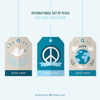 Pack de etiquetas planas del día de paz