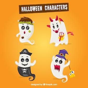 Pack de fantasmas con elementos de halloween