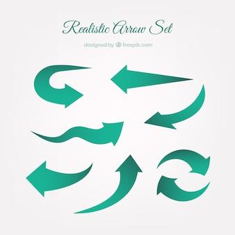 Pack de flechas verdes realistas