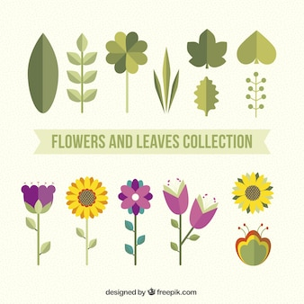 Pack de flores y hojas en estilo plano