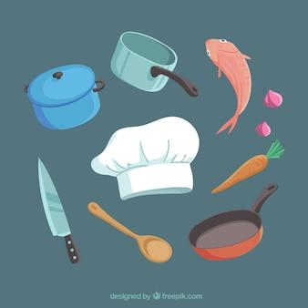 Pack de gorro de chef con ingredientes y utensilios de cocina
