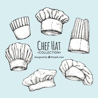 Pack de gorros de chef dibujados a mano