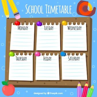 Pack de horario escolar con notas y elementos