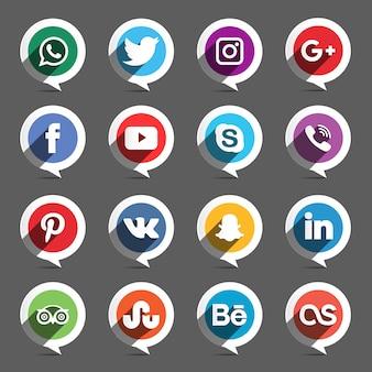 Pack de iconos de redes sociales con forma de bocadillo