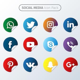 Pack de iconos de redes sociales en pegatina