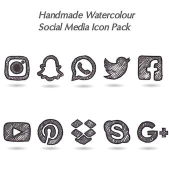 Pack de iconos de redes sociales hechos a mano en acuarela