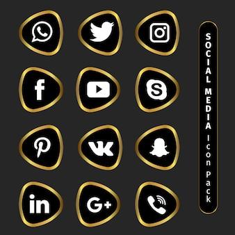 Pack de iconos dorados de redes sociales