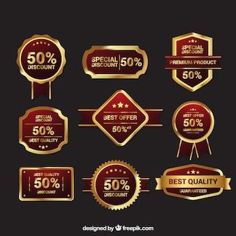 Pack de insignias doradas retro premium