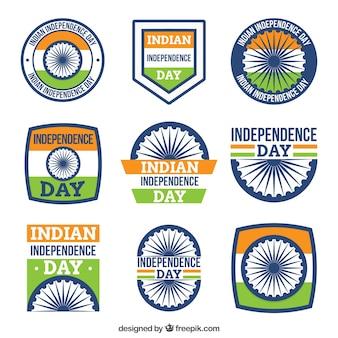 Pack de insignias retro del día de la independencia de india