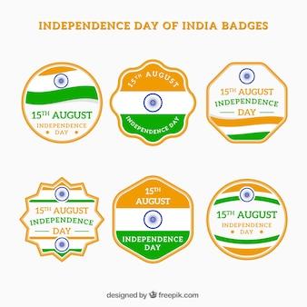 Pack de insignias vintage decorativas de la independencia de india