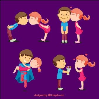 Pack de jóvenes enamorados en diferentes momentos románticos