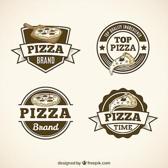 Pack de logos de pizza en estilo vintage