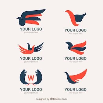 Pack de logotipos abstractos con alas