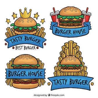 Pack de logotipos de hamburguesas dibujadas a mano