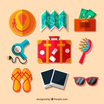 Pack de maleta y accesorios de viaje en diseño plano