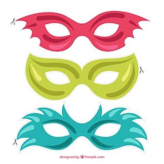 Pack de máscaras recortables de carnaval de colores