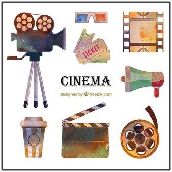 Pack de material de cine de acuarela