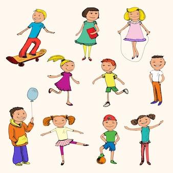 Pack de niños dibujados a mano jugando