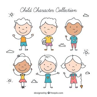 Pack de niños sonrientes dibujadas a mano