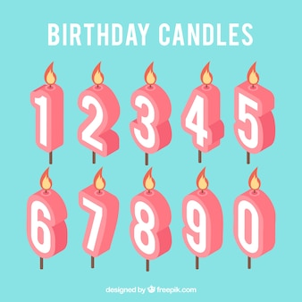 Pack de números en forma de velas