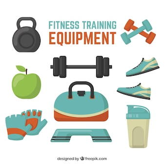 Pack de objetos de fitness en diseño plano