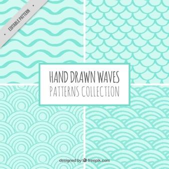 Pack de olas geométricas dibujadas a mano