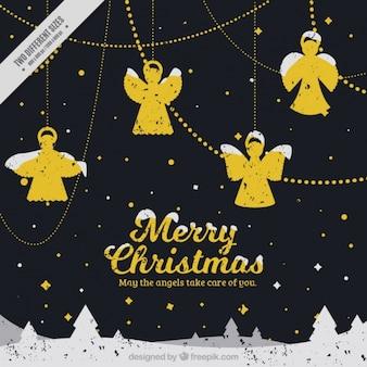 Pack de ornamentos de ángeles dorados nevados