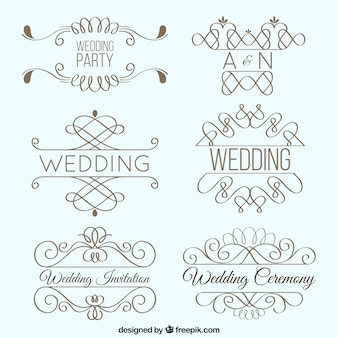 Pack de ornametos de boda bonitos lineales