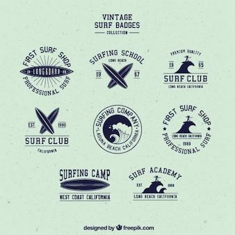 Pack de pack de bonitas insignias retro de surf