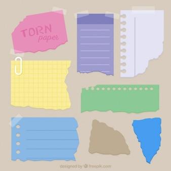 Pack de papeles de libreta rasgados