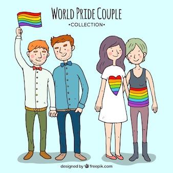 Pack de parejas celebrando el orgullo gay dibujadas a mano