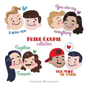 Pack de parejas enamoradas con mensajes bonitos