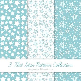 Pack de patrones azules y blancos con estrellas