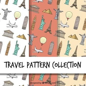 Pack de patrones con monumentos dibujadoas a mano
