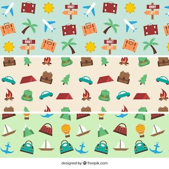 Pack de patrones con objetos de viaje en diseño plano