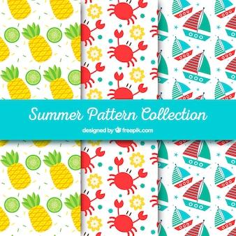 Pack de patrones de color con objetos veraniegos