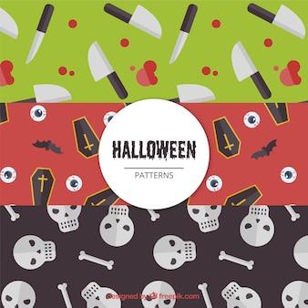 Pack de patrones de halloween con elementos espeluznantes