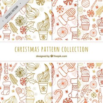 Pack de patrones de navidad con garabatos