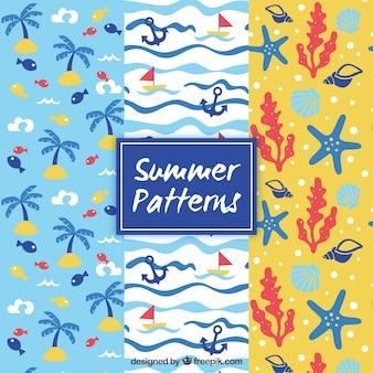 Pack de patrones de verano con elementos decorativos
